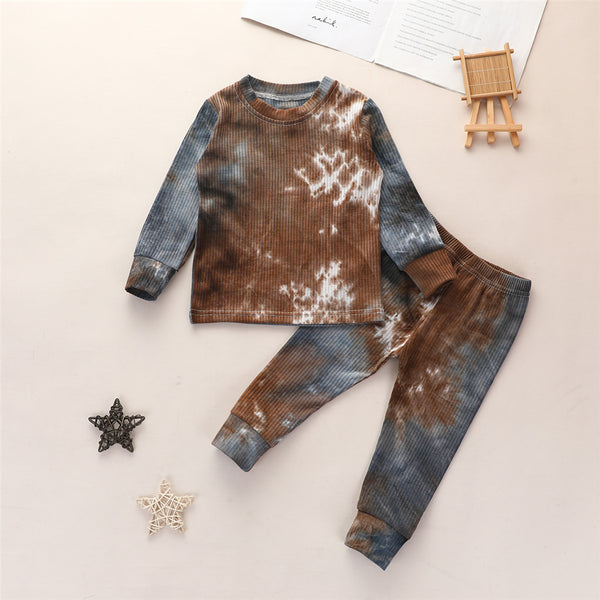 Boys Tie Dye Long-sleeve Casual Tops & Pants
