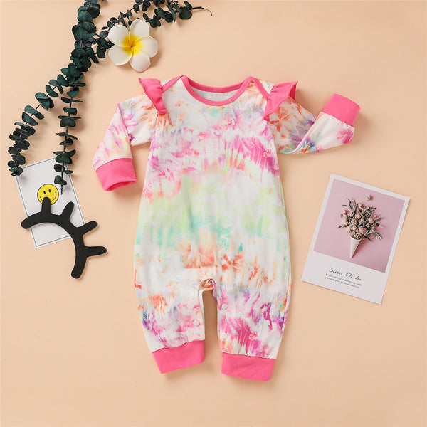 Baby Tie Dye Long Sleeve Casual Romper