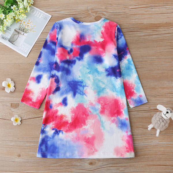 Girls Tie Dye Long Sleeve Fashion Dress Wholesale Boutique Girl Clothing