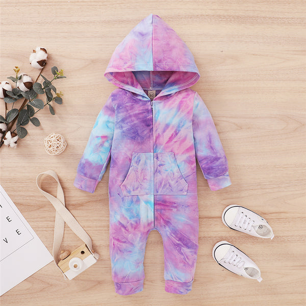 Baby Tie Dye Long Sleeve Hooded Casual Romper Baby Boutique Wholesale