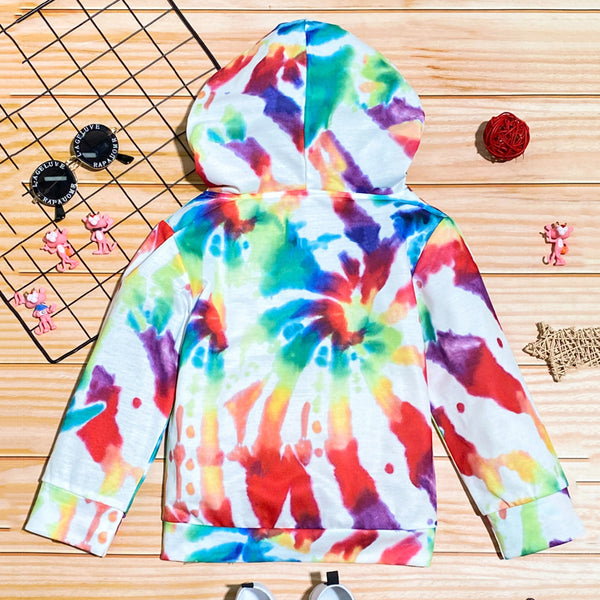 Girls Tie Dye Long Sleeve Hooded Tops Wholesale Baby Girl Clothes