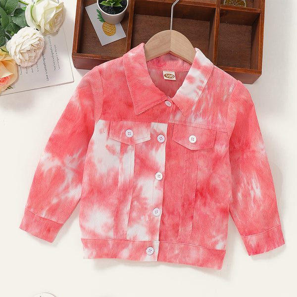 Girls Tie Dye Long Sleeve Lapel Button Jacket Baby Girl Wholesale