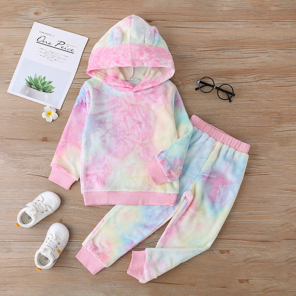 Girls Tie Dye Long Sleeve Leisure Top & Pants Baby Girl Clothes Wholesale