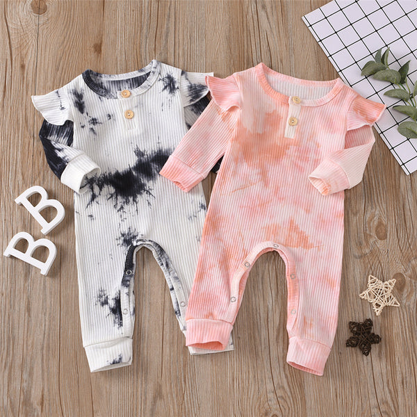 Baby Girls Tie Dye Long Sleeve Romper Baby Ruffle Rompers Wholesale