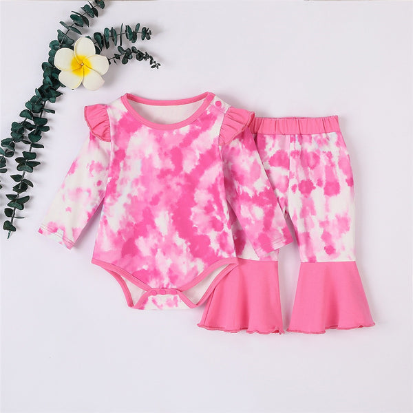 Baby Girls Tie Dye Long Sleeve Romper & Flare Trousers