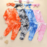 Baby Girls Tie Dye Long Sleeve Romper & Pants & Headband