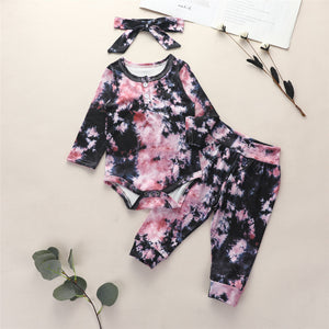 Baby Girls Tie Dye Long Sleeve Romper & Trousers & Headband