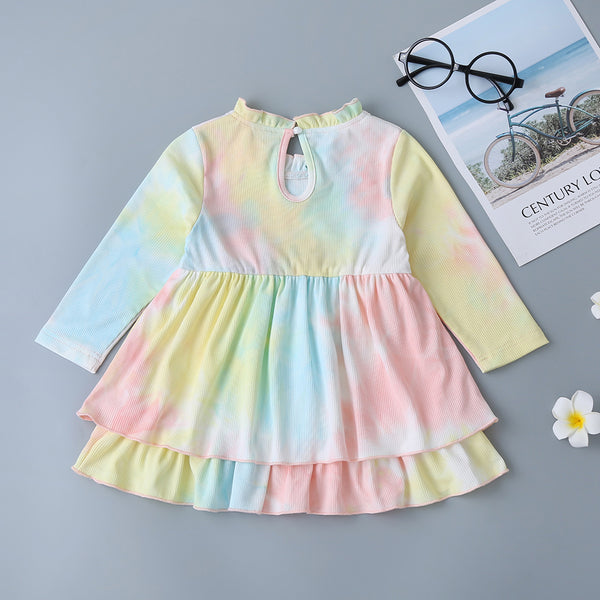Baby Girls Tie Dye Long Sleeve Rufffle Dress