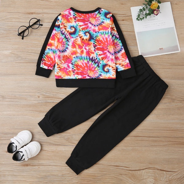 Girls Tie Dye Long Sleeve T-shirt & Pants Wholesale Clothing For Girls