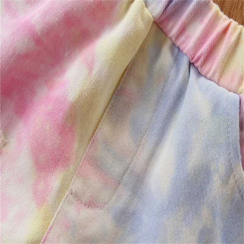Girls Tie Dye Pocket Ripped Flared Trousers Wholesale Kids
