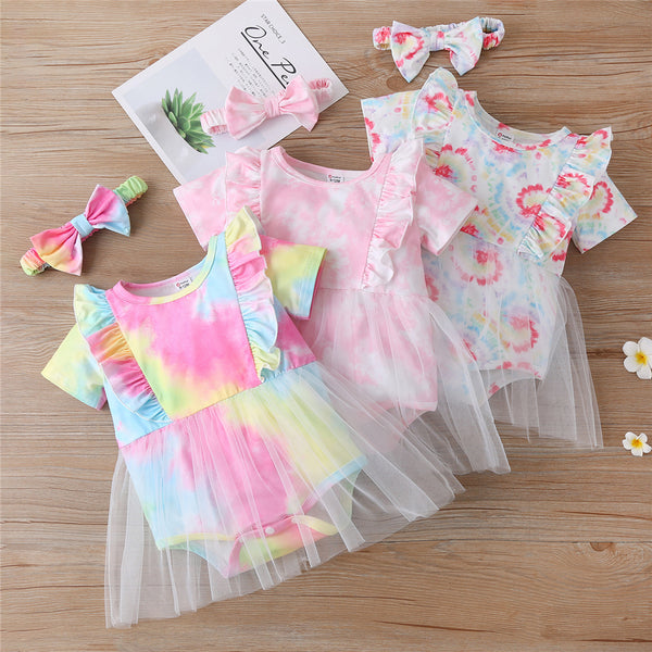 Baby Girls Tie Dye Short Sleeve Ruffled Mesh Romper & Headband wholesale baby boutique clothing