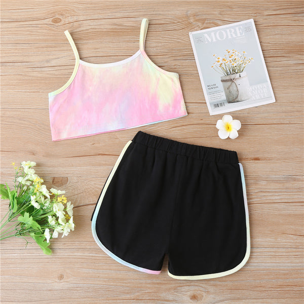 Girls Tie Dye Summer Sling Top & Shorts kids clothes wholesale