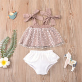 Baby Girls Tie Up Mesh Heart Printed Tube Top & Solid Shorts Baby Clothes Cheap Wholesale