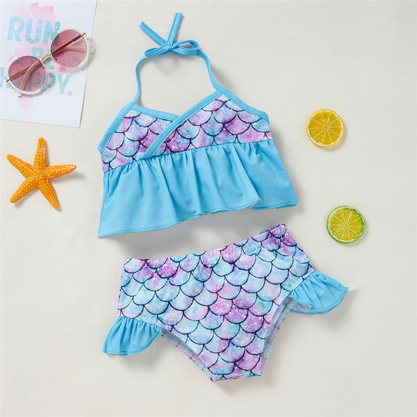 Girls Tie Up Pattern Printed Cute Swimming Suit 2 Piece Swimsuit With Shorts