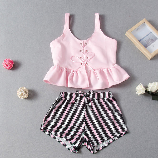 Girls Tie Up Solid Tank Top & Striped Shorts Wholesale Boutique Clothes For Kids