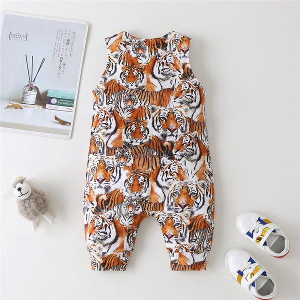 Baby Boys Tiger Animal Printed Sleeveless Romper cheap baby clothes wholesale