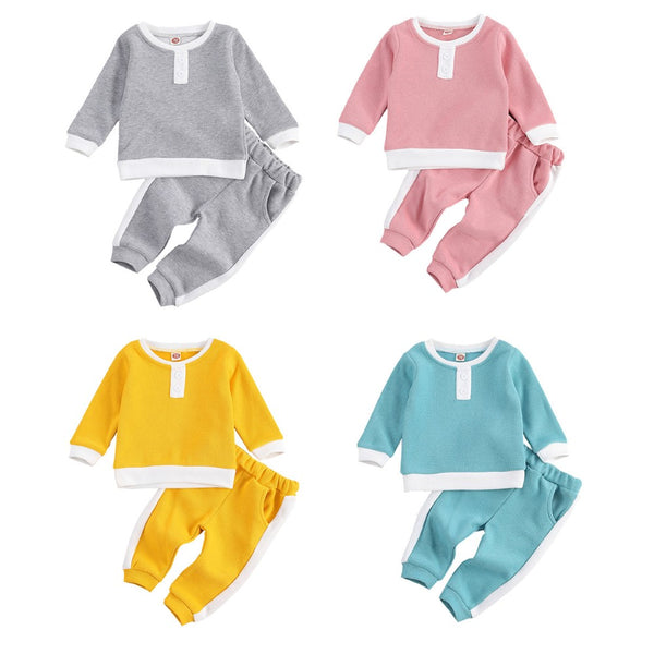 Toddler Boys Buttons Long Sleeve Top & Pants Baby Boy Clothes Wholesale