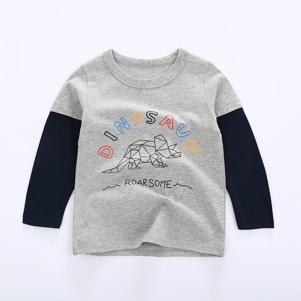 Toddler Boys Dinosaur Printed Long Sleeve Top Wholesale Boys Clothing