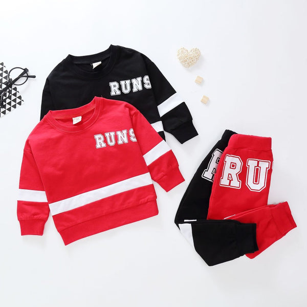 Toddler Boys Letter Striped Printed Top & Pants Boy Clothes Wholesale