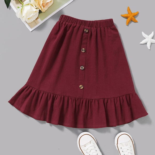 Toddler Girls Buttons Solid Dress Wholesale Girls Clothing