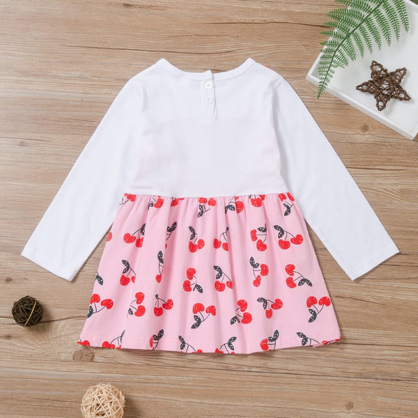 Toddler Girls Cherry Printed Dress Wholesale Girl Clothing