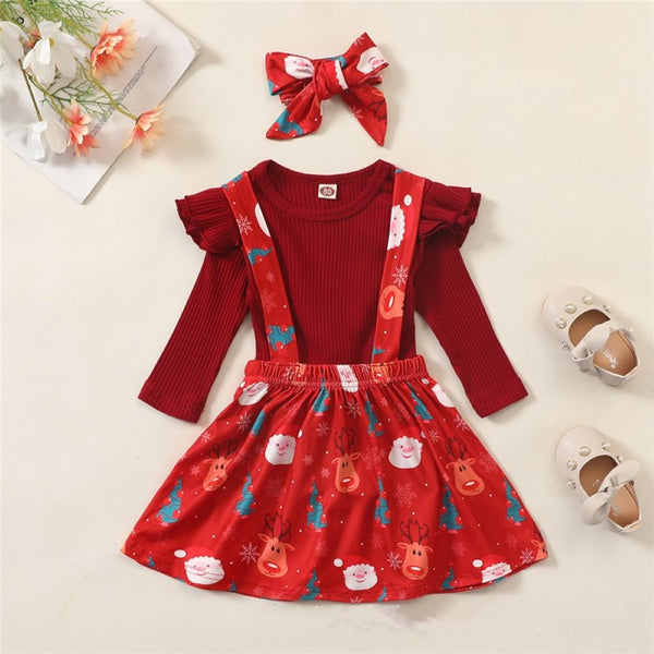 Toddler Girls Christmas Snowflake Strap Dress & Top & Headband Girls Clothes Wholesale