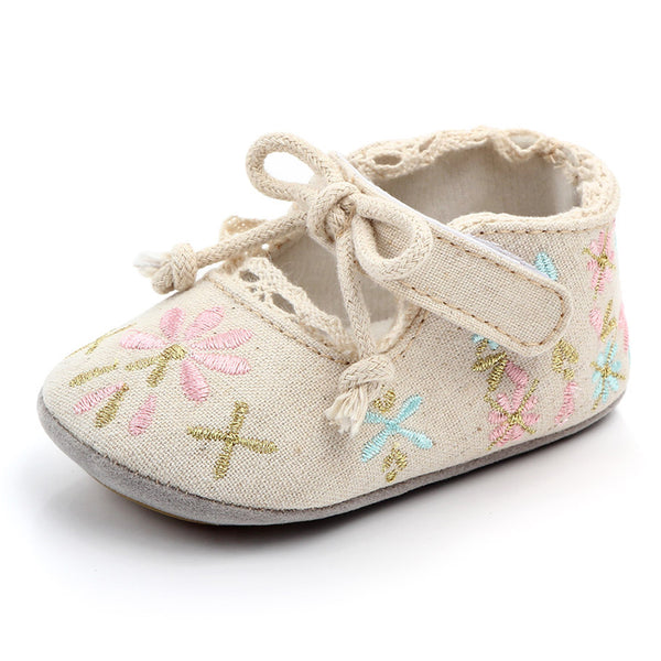 Baby Toddler Girls Embroidery Non-slip Flats