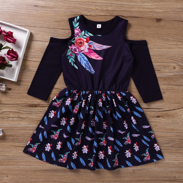 Toddler Girls Feathers and Flowers Printed Girl Wholesale