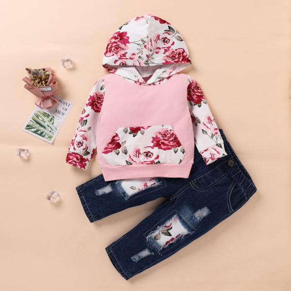 Toddler Girls Flower Printed Long Sleeve Top & Pants Wholesale Girl Clothing