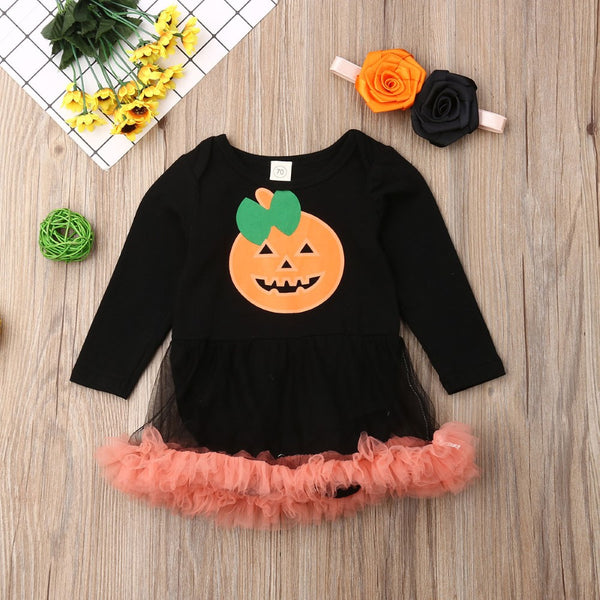 Toddler Girls Halloween Pumpkin Fake Dress Wholesale Girls Clothing