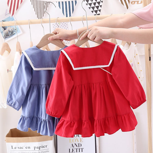 Toddler Girls Lapel Bottons Dress Girls Dress Wholesale