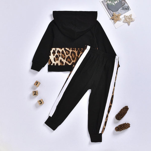 Toddler Girls Leopard Hooded Top & Pants Wholesale Girl Clothing