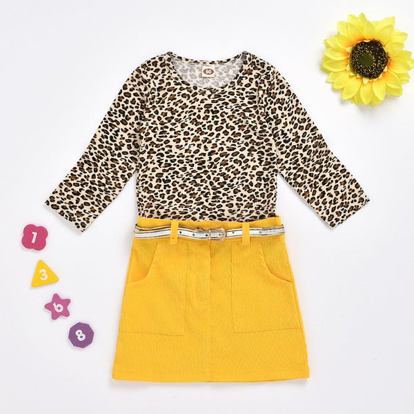 Toddler Girls Leopard Long Sleeve Top & Skirt Girls Clothing Wholesalers