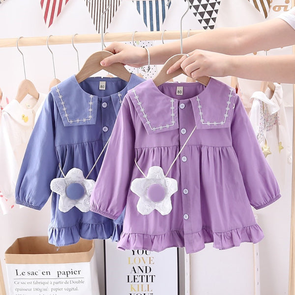 Toddler Girls Long Sleeve Buttons Dress Wholesale Girl Dresses