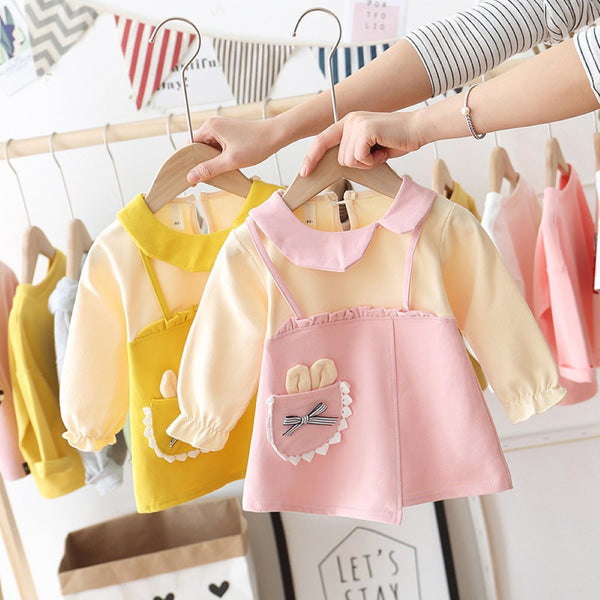 Toddler Girls Long Sleeve Stitching Dress Girls Clothing Wholesale