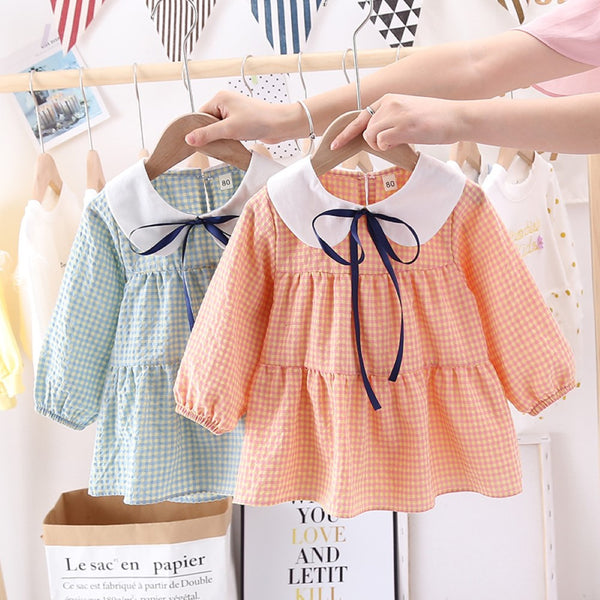 Toddler Girls Plaid Lapel Dress Girls Dress Wholesale