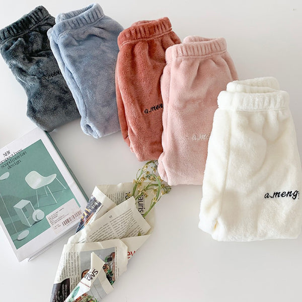 Toddler Girls Plush Coral Fleece Casual Warm Pants Wholesale Girl Clothing