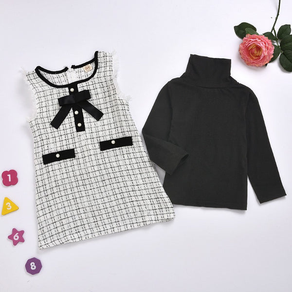 Toddler Girls Solid Top & Plaid Dress Girls Clothing Wholesale