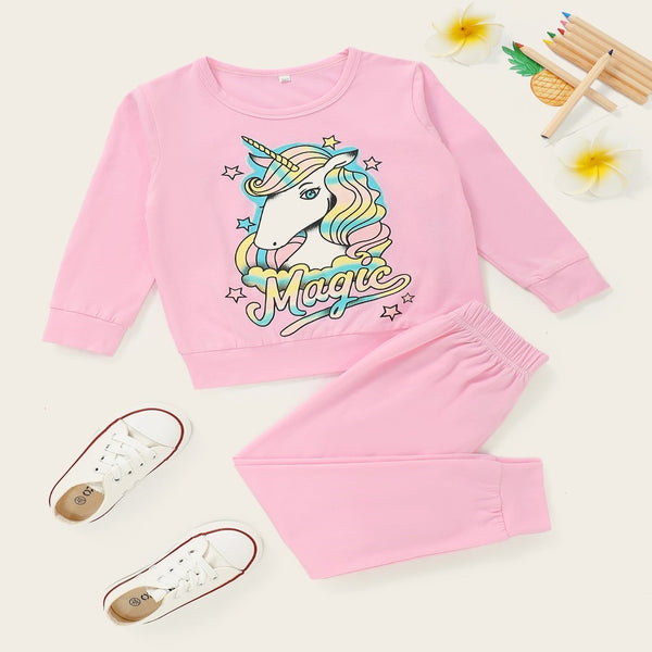Toddler Girls Unicorn Printed Long Sleeve Top & Pants Girl Wholesale