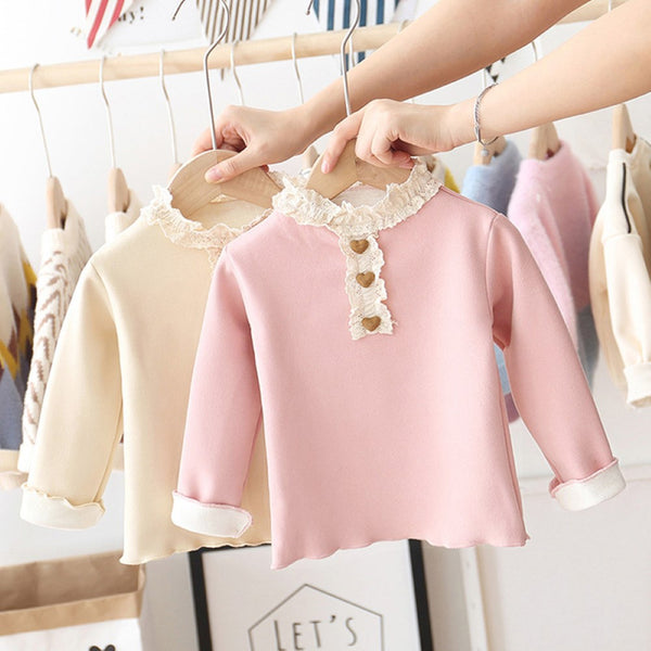 Toddler Girls Winter Style Plus Velvet Thickening Top Wholesale Baby Girl Clothes