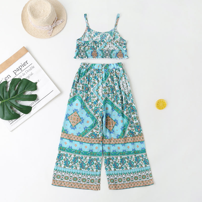 Girls Tribal Print Shirred Cami Top & Belted Pants