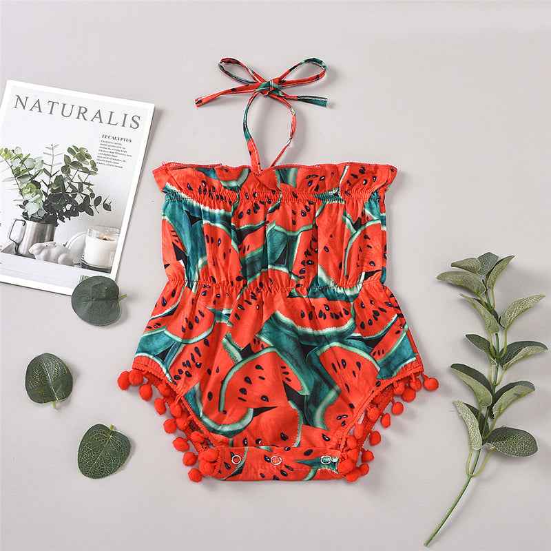 Baby Girls Tube Top Watermelon Lace Up Romper Cheap Baby Clothes Online Wholesale