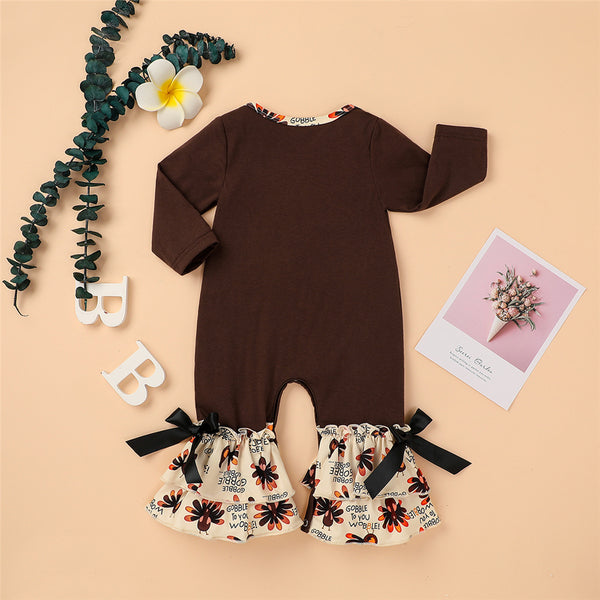 Baby Girls Turkey Day Embroidered Romper Vintage Baby Romper