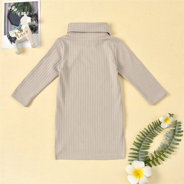 Girls Turtleneck Irregular Solid Long Sleeve Dress Girls Clothing Wholesalers