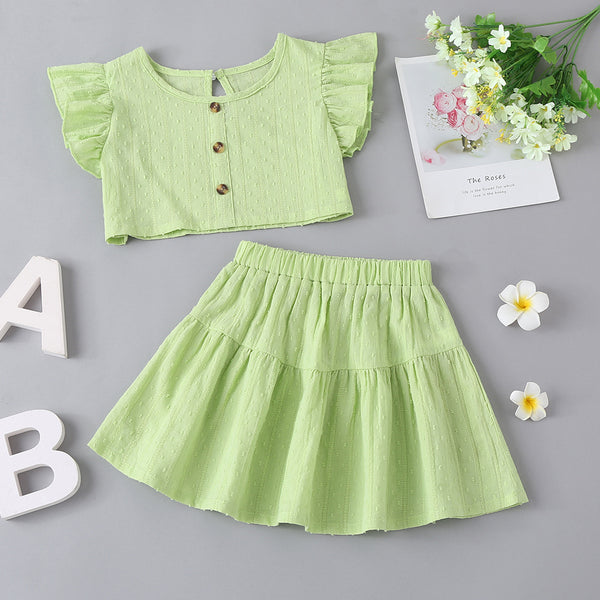 Two-Piece Set Solid Color Suit For Baby Girl In Summer Trendy Kids Wholesale Clothing