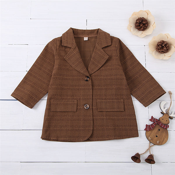 Girls Two Buttons Plaid Long Sleeve Coat Cheap Childrens Clothes Wholesale