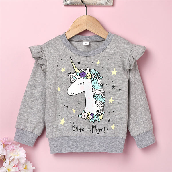 Girls Unicorn Cartoon Printed Long Sleeve Tops Bulk Baby Girl Clothes
