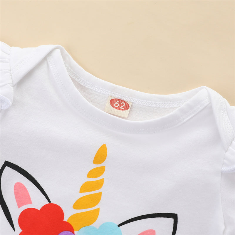 Baby Girls Unicorn Cartoon Printed Short Sleeve Romper Baby Clothing Cheap Wholesale