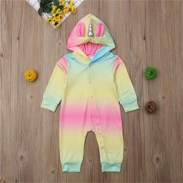 Baby Unicorn Gradient Long Sleeve Hooded Tie Dye Rompers