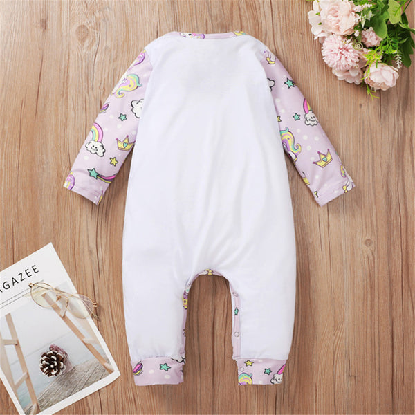 Baby Girls Unicorn Little Girl Printed Romper Wholesale Baby Boutique Items